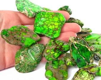 "14"" Terra Jasper Lime Green slab focal freeform nugget gemstone Beads - snakeskin - Impression Jasper - PICK Length"