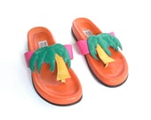 US 8 // 90's Neon Palm Trees Graphic Leather Sandals