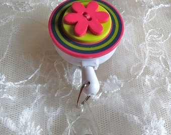 Id Badge Holder with Slide Clip or Swivel Alligator Clip Button Flower Retractable Reel