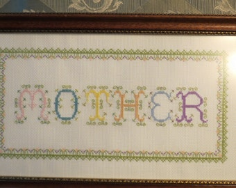 Mother Needlepoint Sampler in Pastel Thread and in Walnut Frame
