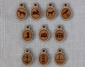 Your choice of Icon Necklace, Handcrafted and Laser Engraved, Custom Necklace, Jewelry, Rustic Jewely