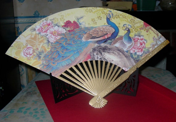 Oriental Peacock Fan Chinese New Year Card