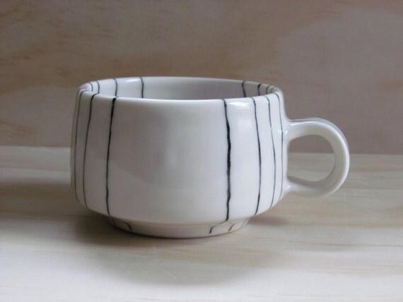 Black And White Line Tea Or Coffee Mug Graphic Design Modern