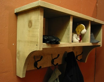 Coat Hanger / Cube Entry Shelf / Storage Cubby With Coat  Hooks / Rustic Shelf with hooks