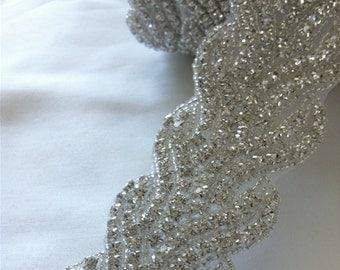 Bridal Sash // Bridal Belt //Rhinestone trim // Wedding Gown Embellishment // 1/2 Yard Bridal Rhinestone Trim