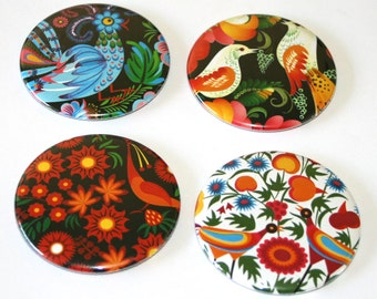 Russian Folk Bird Designs - Set of 4 Large Fridge Magnets