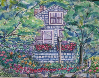 Cape Cod cottage watercolor painting, Cape Cod Cottage, original watercolor