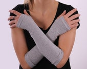 Gray long fingerless gloves arm warmers mittens