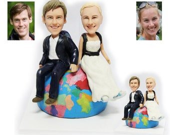 Personalised wedding cake topper - travellers wedding cake topper (Free shipping)