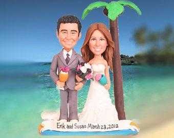 Personalised wedding cake topper - Hawaii Wedding (Free shipping)