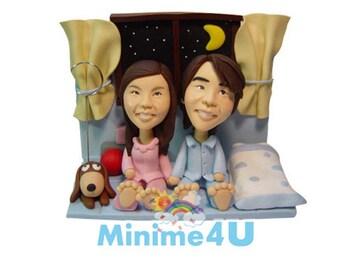 happy couple -  custom anniversary figurine 100% handmade  (Free Shipping Worldwide)