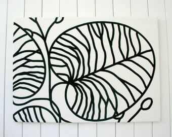 Marimekko style black and white fabric wall art: fabric covered canvas wall decor, large
