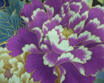 Beauiful asian designed fabric with fushia, perriwinkles, greens, blues & gold.