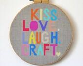 Kiss Love Laugh Craft - Modern cross stitch pattern PDF - Instant download
