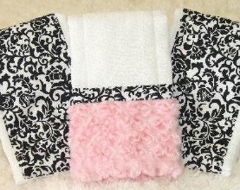 Baby Burp Cloths, Black and Pink Scroll Damask Burp Cloth Set,