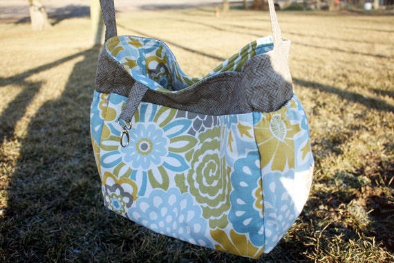 Knitting or crochet tote bag and needle roll in yellow, light blue and green flowers and grey tweed
