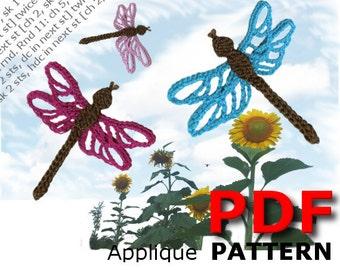 Crochet | Crochet pattern | Applique pattern | Crochet DRAGONFLY