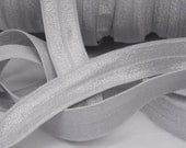10 Yards Silver Fold Over Elastic FOE 5/8 inch Fabric - Emi Jay Material - DIY Hair ties and headbands Soft Stretchy No Pull