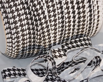 """5 or 10 Yards Black and White HOUNDSTOOTH Design Print Fold Over Elastic FOE 5/8"""" Emi Jay Material DIY Hair Ties Headbands Stretchy No Pull"""