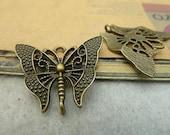 20pcs 23x30mm Antique Bronze Butterfly Connectors Chams Pendants AC793