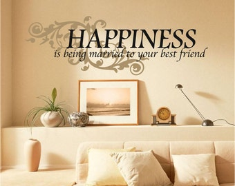 Happiness is... Vinyl Wall Decal Sticker, Romance, Love