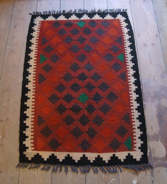 Small Wool Afghan Kilim Rug Dusty Pink Red By YarthkinVintage