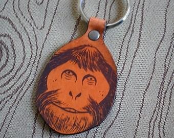 Wood Ape Bigfoot key fob. Leather Keychain