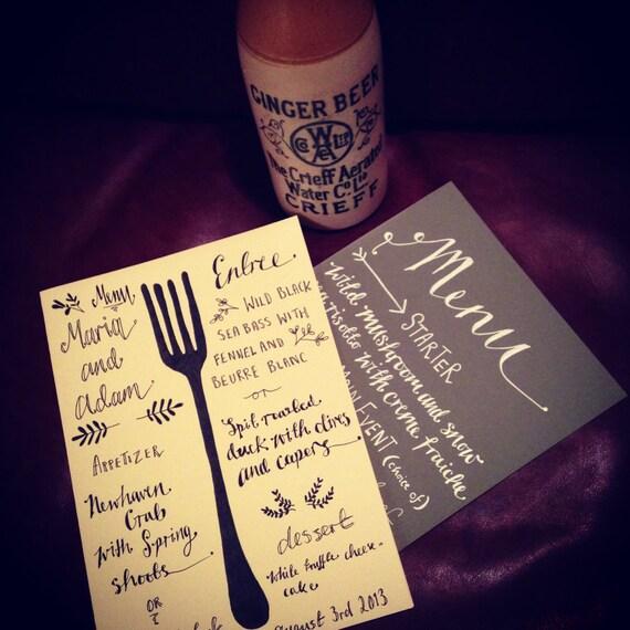 Items similar to calligraphy wedding menu on etsy