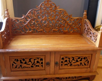 Carved Wooden Bench - Love Seat - Storage Seat - Decorative