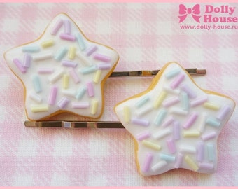 Star Cookies Hair Clip with white frosting by Dolly House