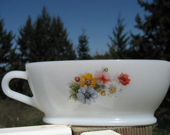 French Pyrex Gravy Boat in Floral Pattern