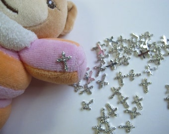 MD-132 5pcs Fancy Metal Charms Crystal Rhinestone Silver Cross Charms Nail Art Decoration Cellphone Decoration