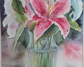 star gazer lily in a vase series