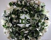 Green Irish, Round Fabric Rag Wreath for St. Patricks Day