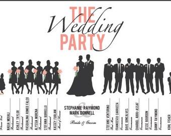 Custom, Printable Wedding Party Program Card