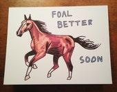 Foal Card - Hand Drawn Horse Card - Cute Get Better Soon Card