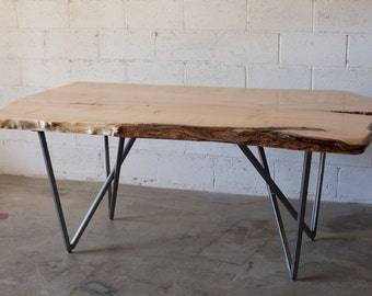 Live Edge Maple Dining Table with Metal Legs