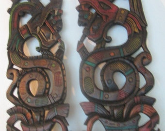 Made to order Kukulkcan Mayan God of Wisdom Wall Hangings. Handcarved 24 inches by 10 Cedar By Grumpy