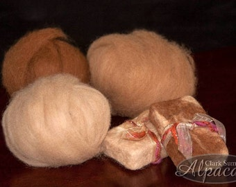 Alpaca Roving - Hand Spinners, Felting, Nuno, Crafts - beige, brown, fawn, blue, green, white
