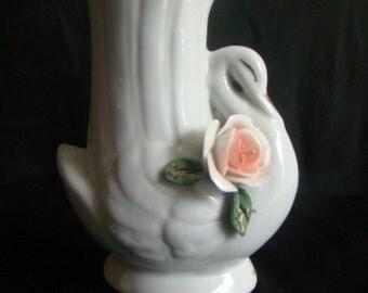 Vintage Porcelain Swan Vase