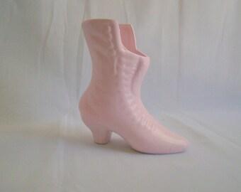 Vintage Upcycled Pink Porcelain Shoe Vase