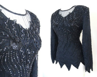 Black Sequin Top // Long Sleeved