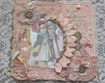 Shabby Chic Mixed Media Wall Hanging - Collage- Antique Laces & Trims