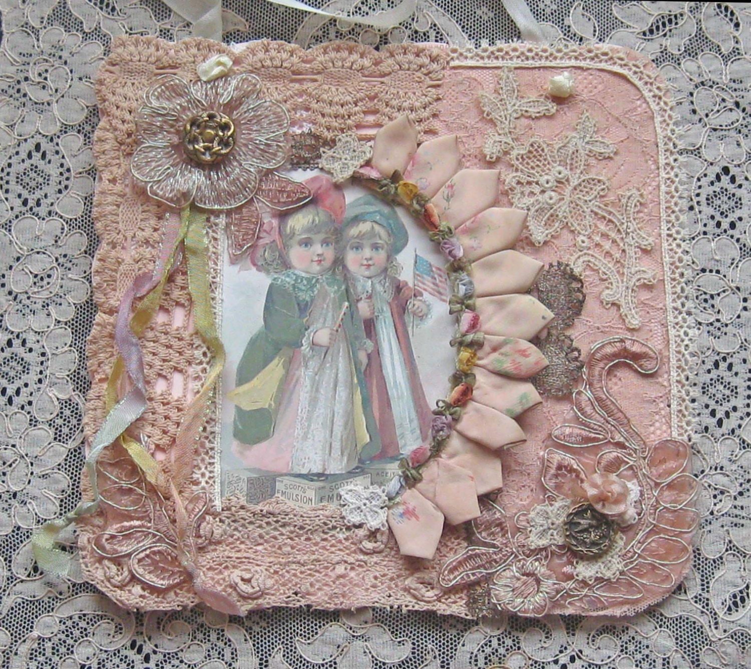 Shabby Chic Mixed Media Wall Hanging Collage Antique Laces