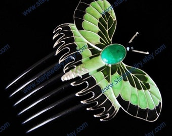 Beatiful large butterfly comb hairpin with green agate and Enameled craft RMS-titanic love forever-commemorative edition