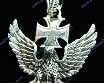 Steampunk Deutschland eagle corss badge necklace pandent---925sterling