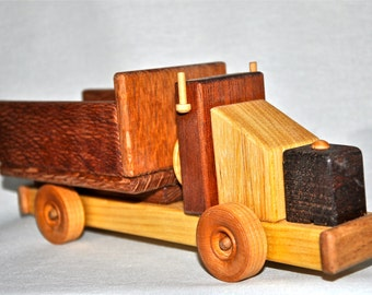 Wooden Truck Toy with open box trailer
