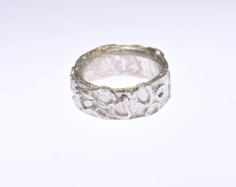 Fused, reticulated silver ring