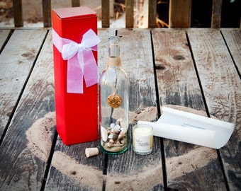 Romantic Message In A Bottle Gift & Mood Candle