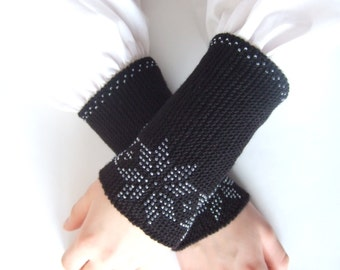 BEADED wrist warmers. Very soft and warm handmade knitted black PURE merino wool beaded with clear true glass beads.